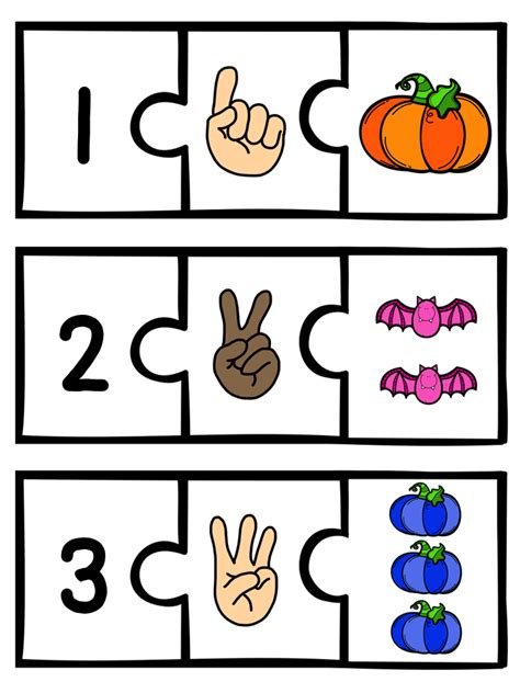 FREEBIE! Halloween number puzzles! 3 piece puzzles for the
