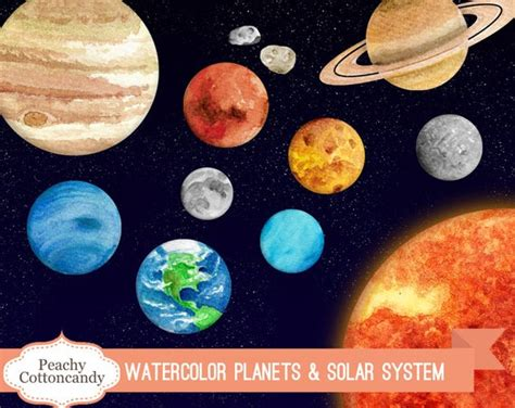 BUY 2 GET 1 FREE Watercolor Solar System Clipart Planet   Etsy