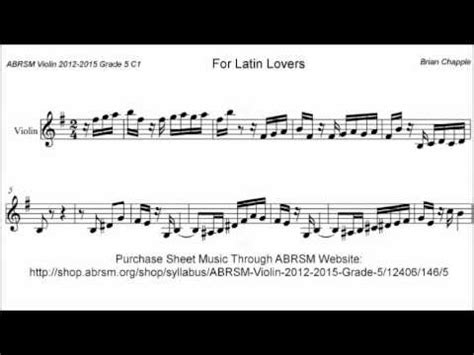ABRSM Violin 2012-2015 Grade 5 C:1 C1 Chapple For Latin