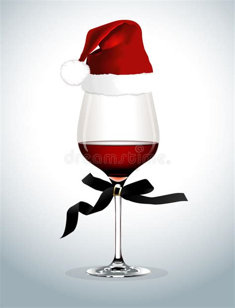 Vector Of Wine Glass With Santa Hat Stock Vector