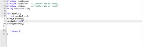 Solved: C++ Type A Statement Using Srand() To Seed Random