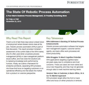 The State of the Robotic Process Automation – by Forrester
