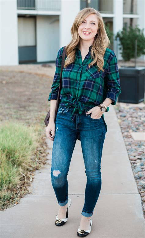 Plaid Top and Jeans