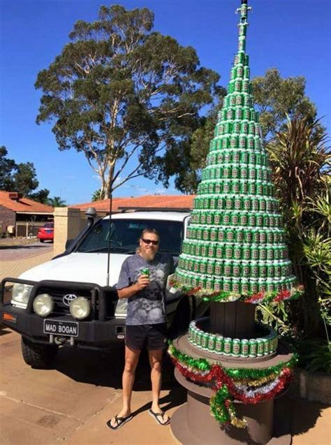 This Guy Posing With A Beer Can Christmas Tree Is A True