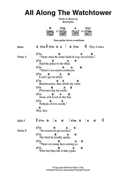 All Along The Watchtower sheet music by Jimi Hendrix