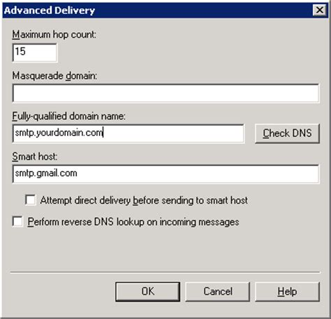 How to Configure IIS SMTP Server to forward emails using a