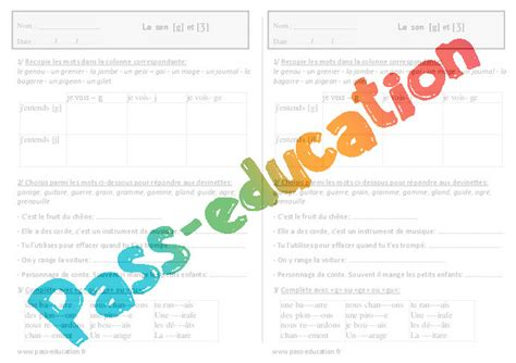 Son [g] et [Ʒ] - Ce1 - Exercices - Orthographe - Pass